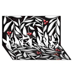 Black, Red, And White Floral Pattern Best Sis 3d Greeting Card (8x4) by Valentinaart
