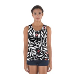 Black, Red, And White Floral Pattern Women s Sport Tank Top  by Valentinaart