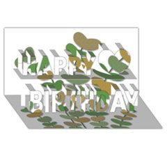 Green Decorative Plant Happy Birthday 3d Greeting Card (8x4)