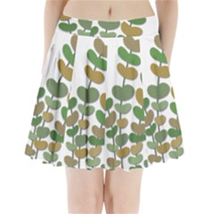 Green Decorative Plant Pleated Mini Skirt by Valentinaart