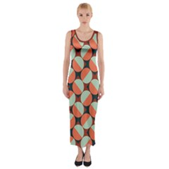 Modernist Geometric Tiles Fitted Maxi Dress