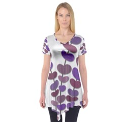 Purple Decorative Plant Short Sleeve Tunic  by Valentinaart