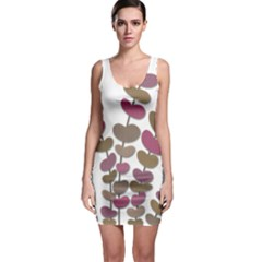 Magenta Decorative Plant Sleeveless Bodycon Dress by Valentinaart