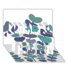 Blue Decorative Plant Work Hard 3d Greeting Card (7x5) by Valentinaart