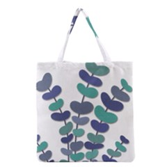 Blue Decorative Plant Grocery Tote Bag by Valentinaart