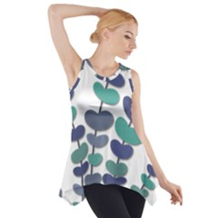 Blue Decorative Plant Side Drop Tank Tunic by Valentinaart