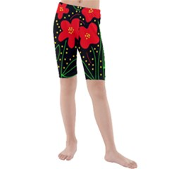 Red Flowers Kid s Mid Length Swim Shorts by Valentinaart