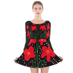 Red Flowers Long Sleeve Velvet Skater Dress by Valentinaart