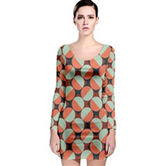 Modernist Geometric Tiles Long Sleeve Bodycon Dress by DanaeStudio