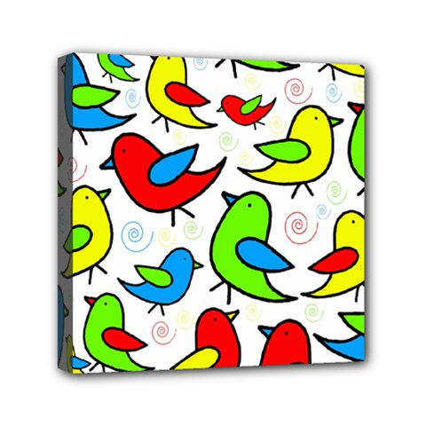 Colorful Cute Birds Pattern Mini Canvas 6  X 6  by Valentinaart