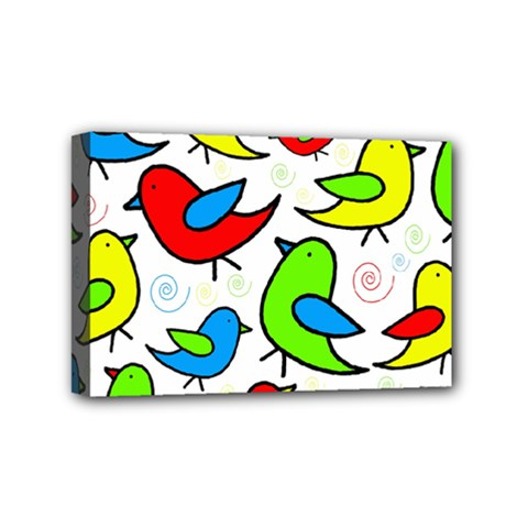 Colorful Cute Birds Pattern Mini Canvas 6  X 4  by Valentinaart