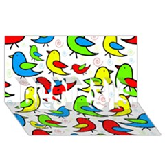 Colorful Cute Birds Pattern Best Sis 3d Greeting Card (8x4) by Valentinaart