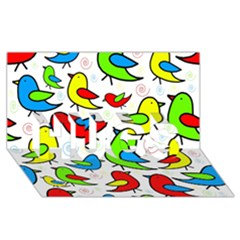 Colorful Cute Birds Pattern Hugs 3d Greeting Card (8x4) by Valentinaart