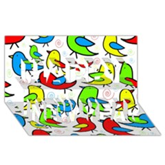 Colorful Cute Birds Pattern Happy New Year 3d Greeting Card (8x4) by Valentinaart