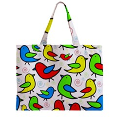 Colorful Cute Birds Pattern Zipper Mini Tote Bag by Valentinaart