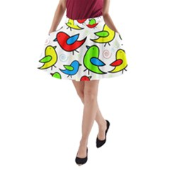 Colorful Cute Birds Pattern A-line Pocket Skirt by Valentinaart