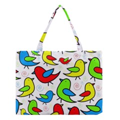 Colorful Cute Birds Pattern Medium Tote Bag