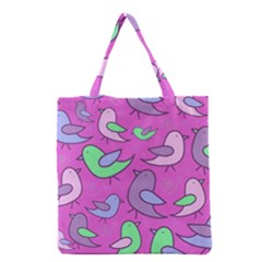 Pink Birds Pattern Grocery Tote Bag by Valentinaart