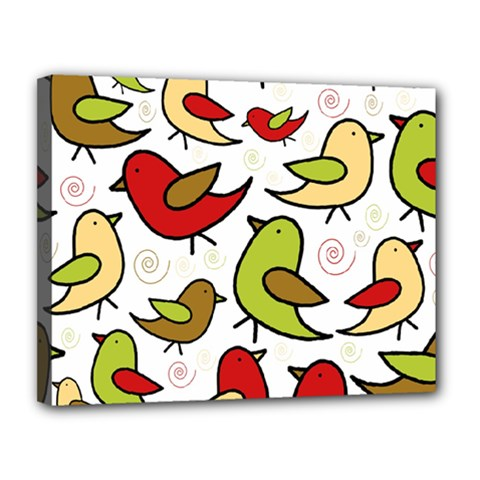 Decorative Birds Pattern Canvas 14  X 11  by Valentinaart