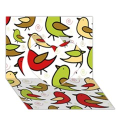 Decorative Birds Pattern Heart 3d Greeting Card (7x5)