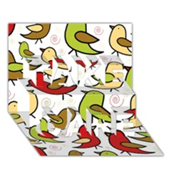 Decorative Birds Pattern Take Care 3d Greeting Card (7x5) by Valentinaart