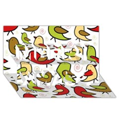 Decorative Birds Pattern Merry Xmas 3d Greeting Card (8x4) by Valentinaart
