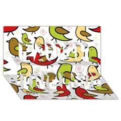 Decorative Birds Pattern Laugh Live Love 3d Greeting Card (8x4)