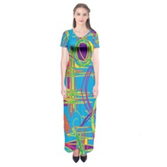 Colorful Abstract Pattern Short Sleeve Maxi Dress by Valentinaart