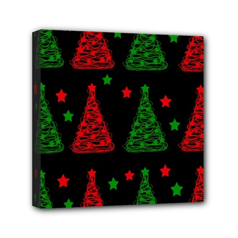 Decorative Christmas Trees Pattern Mini Canvas 6  X 6  by Valentinaart