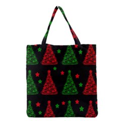 Decorative Christmas Trees Pattern Grocery Tote Bag by Valentinaart