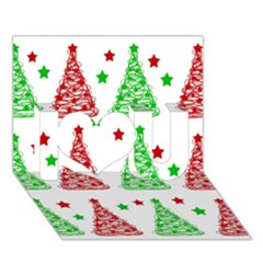 Decorative Christmas Trees Pattern   White I Love You 3d Greeting Card (7x5) by Valentinaart