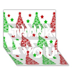 Decorative Christmas Trees Pattern   White Thank You 3d Greeting Card (7x5) by Valentinaart