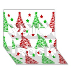 Decorative Christmas Trees Pattern   White You Rock 3d Greeting Card (7x5) by Valentinaart