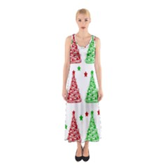 Decorative Christmas Trees Pattern   White Sleeveless Maxi Dress by Valentinaart