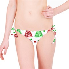 Decorative Christmas Trees Pattern   White Bikini Bottom by Valentinaart