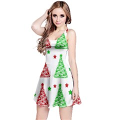 Decorative Christmas Trees Pattern   White Reversible Sleeveless Dress by Valentinaart