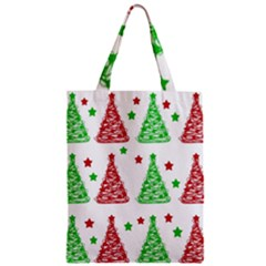 Decorative Christmas Trees Pattern   White Zipper Classic Tote Bag by Valentinaart