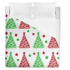 Decorative Christmas Trees Pattern   White Duvet Cover Single Side (queen Size) by Valentinaart