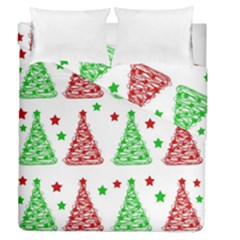 Decorative Christmas Trees Pattern - White Duvet Cover Double Side (queen Size) by Valentinaart