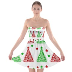 Decorative Christmas Trees Pattern   White Strapless Bra Top Dress by Valentinaart