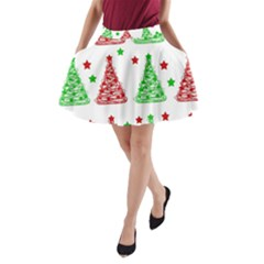 Decorative Christmas Trees Pattern   White A Line Pocket Skirt