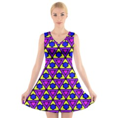 Triangles And Honeycombs Pattern                                                                                               V Neck Sleeveless Dress