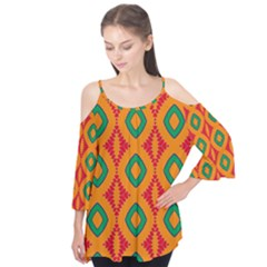 Rhombus And Other Shapes Pattern                 Flutter Sleeve Tee