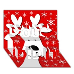 Christmas Reindeer   Red You Did It 3d Greeting Card (7x5)