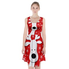 Christmas Reindeer   Red Racerback Midi Dress