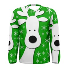 Christmas Reindeer   Green Men s Long Sleeve Tee