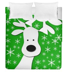 Christmas Reindeer   Green Duvet Cover Double Side (queen Size)