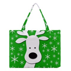 Christmas Reindeer   Green Medium Tote Bag