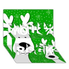 Christmas Reindeer   Green 2 You Rock 3d Greeting Card (7x5) by Valentinaart