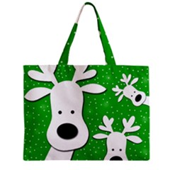 Christmas Reindeer   Green 2 Zipper Mini Tote Bag by Valentinaart